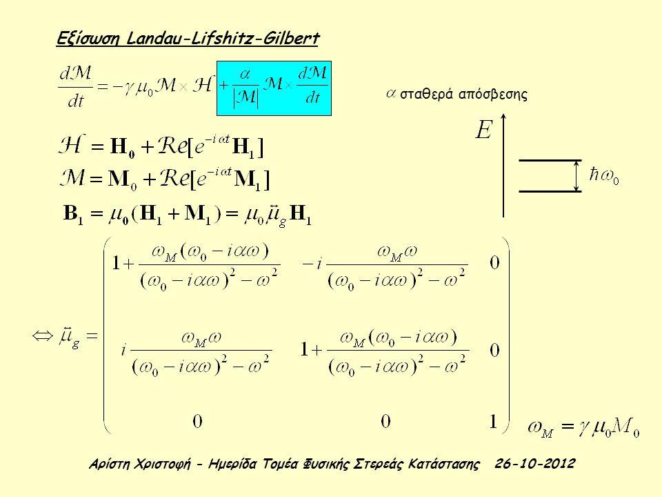 Αρίστη Χριστοφή - Ημερίδα Τομέα Φυσικής Στερεάς Κατάστασης 26-10-2012 Εξίσωση Landau-Lifshitz-Gilbert σταθερά απόσβεσης