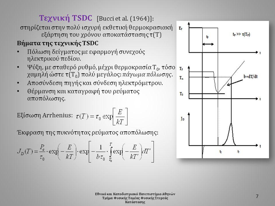 Τεχνική TSDC [Bucci et al. (1964)]: στηρίζεται στην πολύ ισχυρή εκθετική θερμοκρασιακή εξάρτηση του χρόνου αποκατάστασης τ(Τ) Βήματα της τεχνικής TSDC