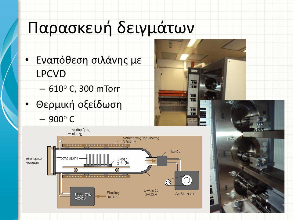 Παρασκευή δειγμάτων Εναπόθεση σιλάνης με LPCVD – 610 o C, 300 mTorr Θερμική οξείδωση – 900 o C