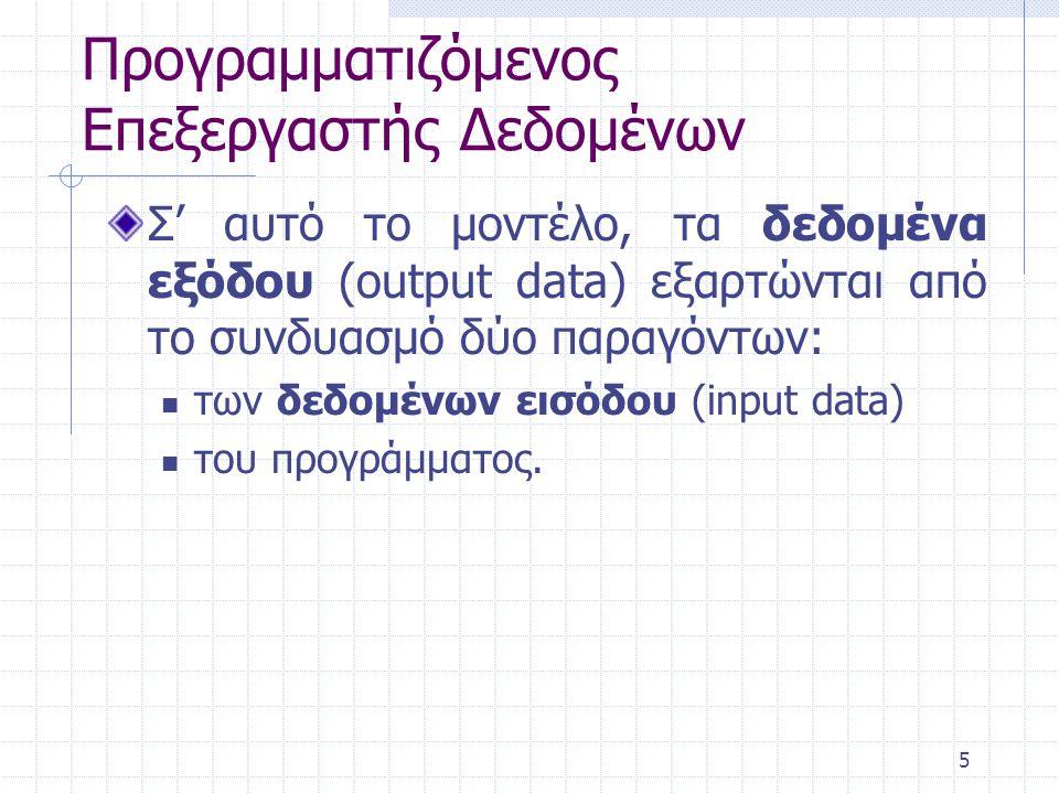 5 Προγραμματιζόμενος Επεξεργαστής Δεδομένων Σ' αυτό το μοντέλο, τα δεδομένα εξόδου (output data) εξαρτώνται από το συνδυασμό δύο παραγόντων: των δεδομ