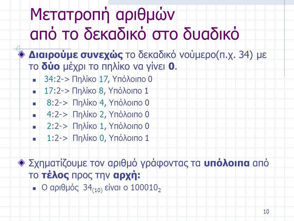 10 Μετατροπή αριθμών από το δεκαδικό στο δυαδικό Διαιρούμε συνεχώς το δεκαδικό νούμερο(π.χ.