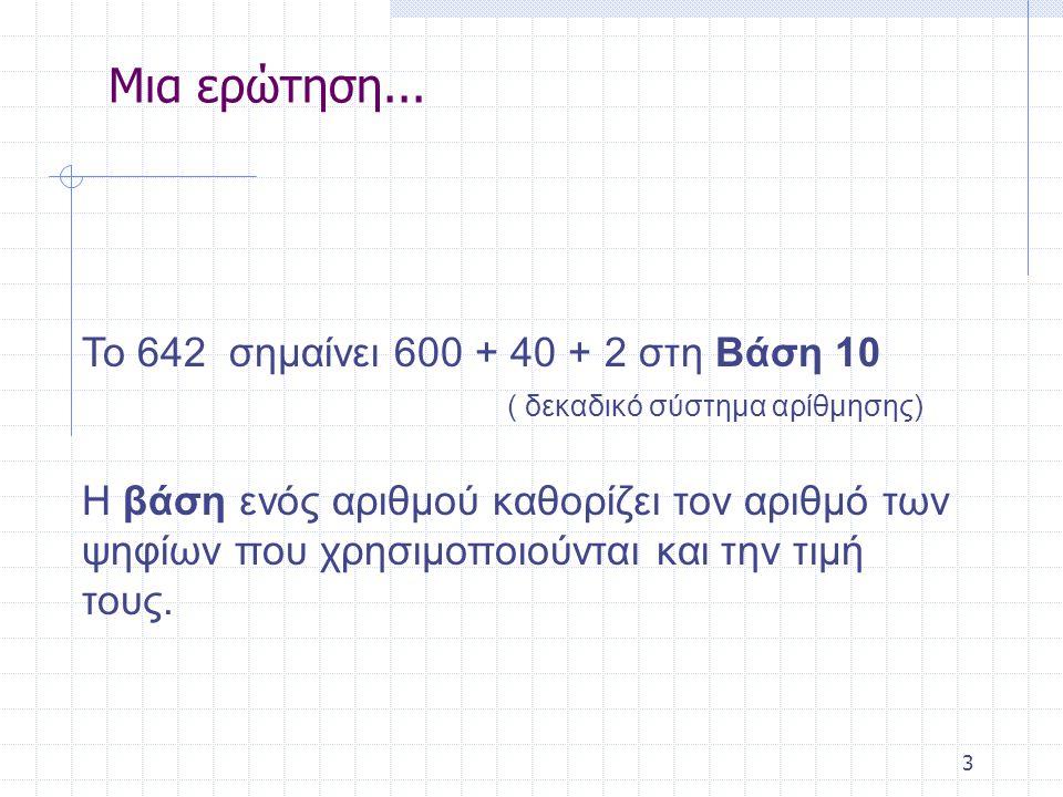 3 Το 642 σημαίνει 600 + 40 + 2 στη Bάση 10 ( δεκαδικό σύστημα αρίθμησης) Η βάση ενός αριθμού καθορίζει τον αριθμό των ψηφίων που χρησιμοποιούνται και την τιμή τους.