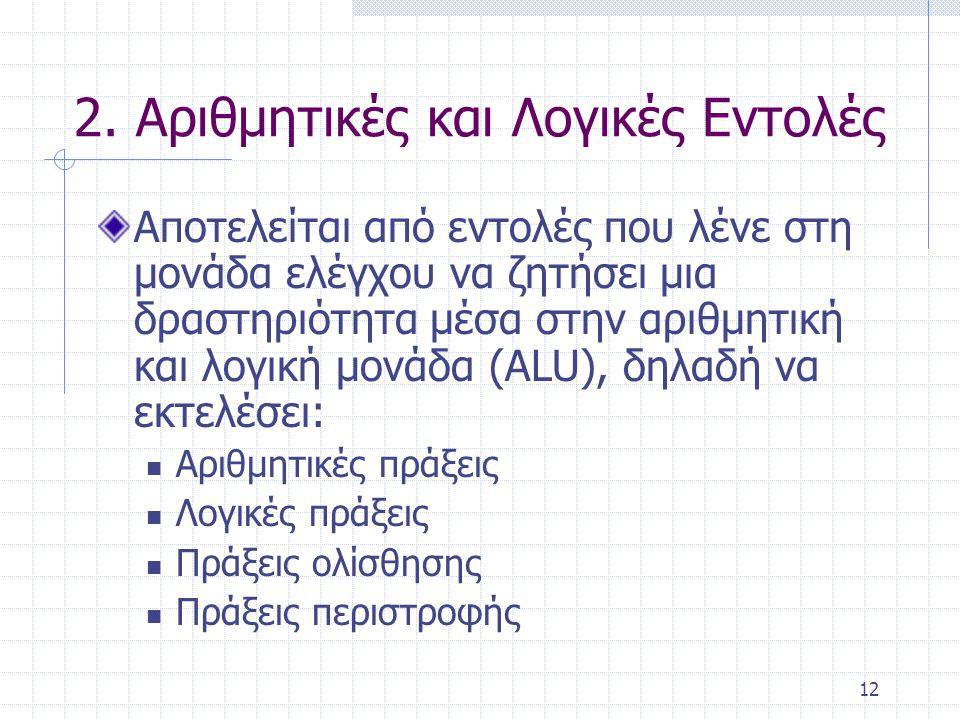 12 2. Αριθμητικές και Λογικές Εντολές Αποτελείται από εντολές που λένε στη μονάδα ελέγχου να ζητήσει μια δραστηριότητα μέσα στην αριθμητική και λογική