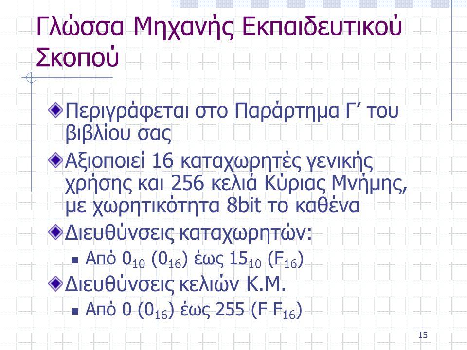 15 Γλώσσα Μηχανής Εκπαιδευτικού Σκοπού Περιγράφεται στο Παράρτημα Γ' του βιβλίου σας Αξιοποιεί 16 καταχωρητές γενικής χρήσης και 256 κελιά Κύριας Μνήμης, με χωρητικότητα 8bit το καθένα Διευθύνσεις καταχωρητών: Από 0 10 (0 16 ) έως 15 10 (F 16 ) Διευθύνσεις κελιών Κ.Μ.