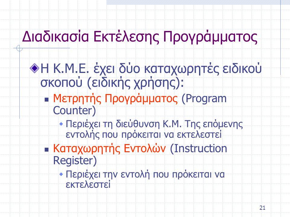 21 Διαδικασία Εκτέλεσης Προγράμματος Η Κ.Μ.Ε. έχει δύο καταχωρητές ειδικού σκοπού (ειδικής χρήσης): Μετρητής Προγράμματος (Program Counter)  Περιέχει