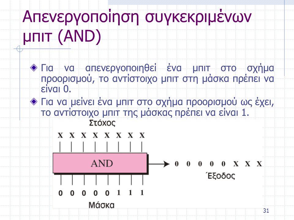 31 Απενεργοποίηση συγκεκριμένων μπιτ (AND) Για να απενεργοποιηθεί ένα μπιτ στο σχήμα προορισμού, το αντίστοιχο μπιτ στη μάσκα πρέπει να είναι 0. Για ν