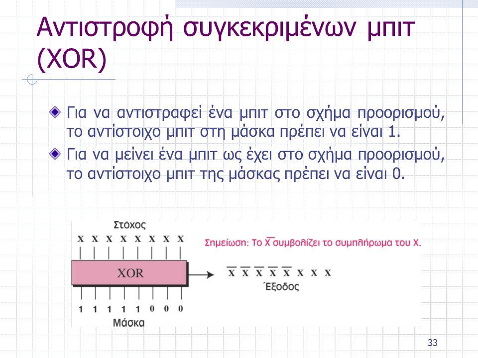33 Αντιστροφή συγκεκριμένων μπιτ (XOR) Για να αντιστραφεί ένα μπιτ στο σχήμα προορισμού, το αντίστοιχο μπιτ στη μάσκα πρέπει να είναι 1. Για να μείνει
