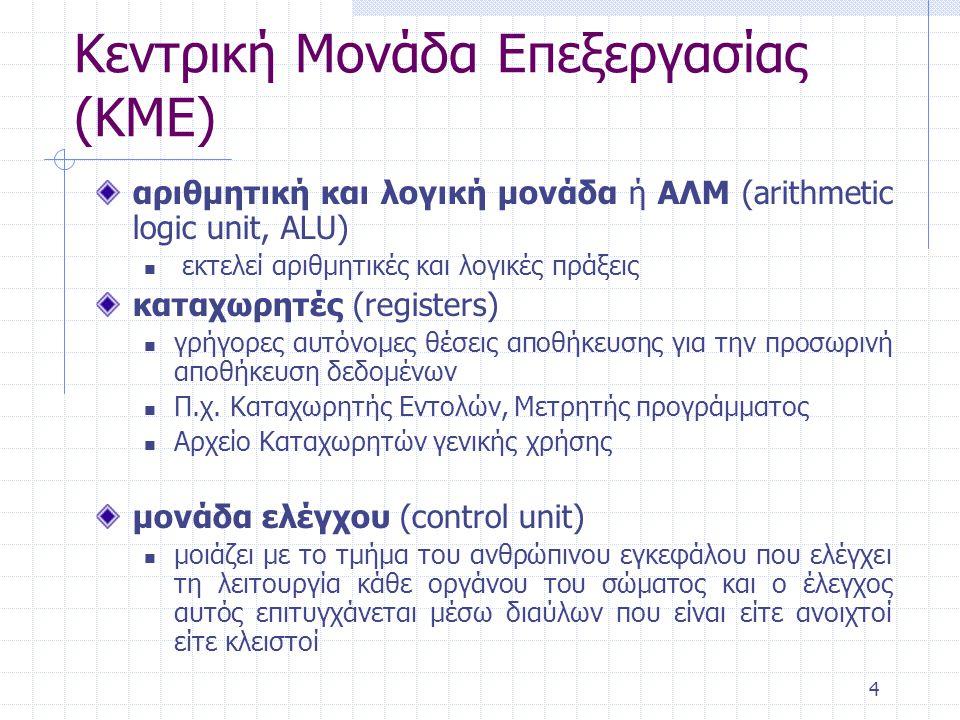 4 αριθμητική και λογική μονάδα ή ΑΛΜ (arithmetic logic unit, ALU) εκτελεί αριθμητικές και λογικές πράξεις καταχωρητές (registers) γρήγορες αυτόνομες θ