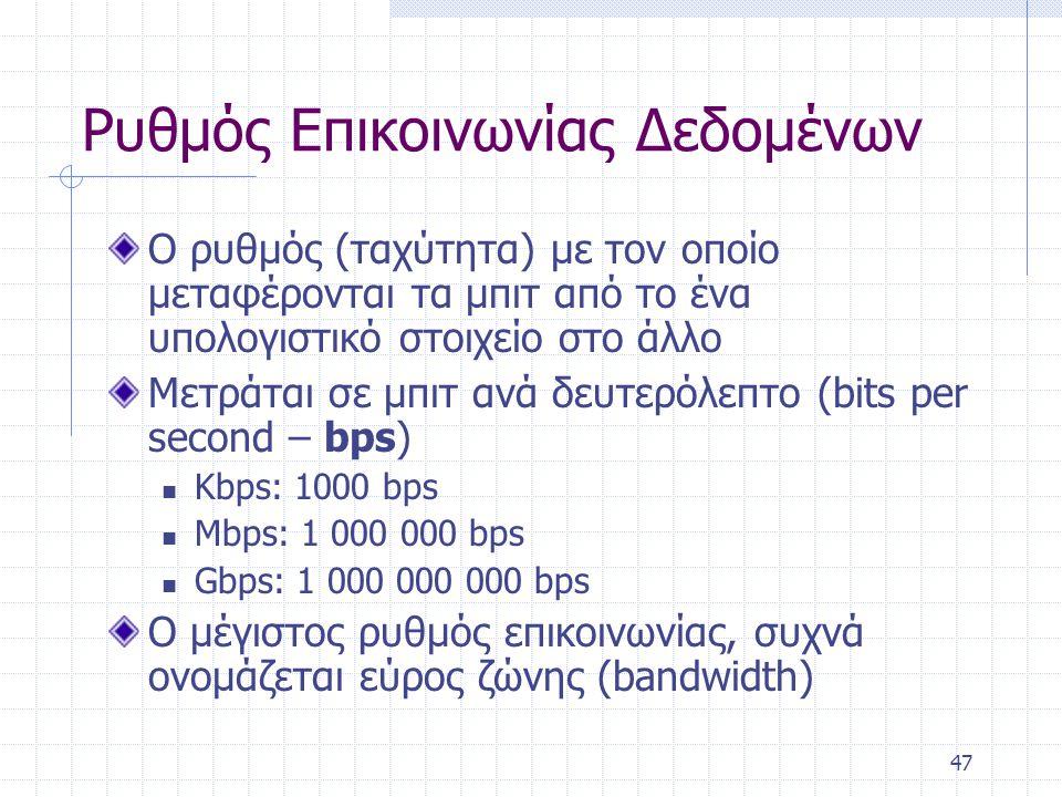 47 Ρυθμός Επικοινωνίας Δεδομένων Ο ρυθμός (ταχύτητα) με τον οποίο μεταφέρονται τα μπιτ από το ένα υπολογιστικό στοιχείο στο άλλο Μετράται σε μπιτ ανά δευτερόλεπτο (bits per second – bps) Kbps: 1000 bps Mbps: 1 000 000 bps Gbps: 1 000 000 000 bps Ο μέγιστος ρυθμός επικοινωνίας, συχνά ονομάζεται εύρος ζώνης (bandwidth)