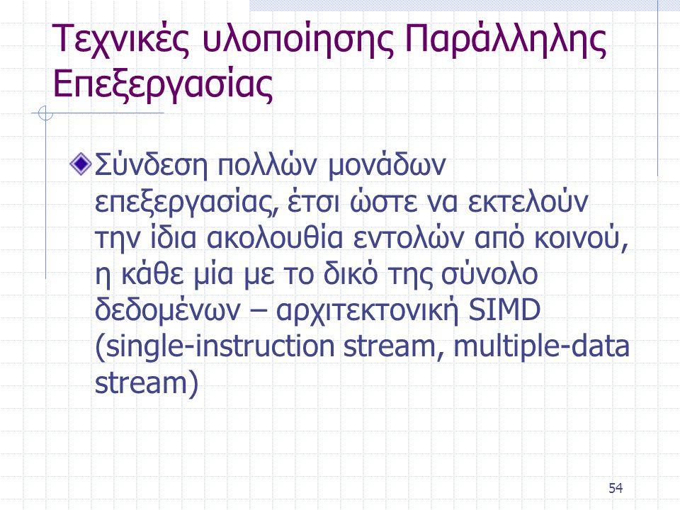 54 Τεχνικές υλοποίησης Παράλληλης Επεξεργασίας Σύνδεση πολλών μονάδων επεξεργασίας, έτσι ώστε να εκτελούν την ίδια ακολουθία εντολών από κοινού, η κάθε μία με το δικό της σύνολο δεδομένων – αρχιτεκτονική SIMD (single-instruction stream, multiple-data stream)