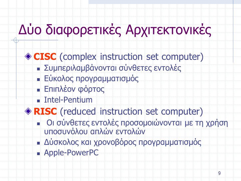 9 Δύο διαφορετικές Αρχιτεκτονικές CISC (complex instruction set computer) Συμπεριλαμβάνονται σύνθετες εντολές Εύκολος προγραμματισμός Επιπλέον φόρτος Intel-Pentium RISC (reduced instruction set computer) Οι σύνθετες εντολές προσομοιώνονται με τη χρήση υποσυνόλου απλών εντολών Δύσκολος και χρονοβόρος προγραμματισμός Apple-PowerPC
