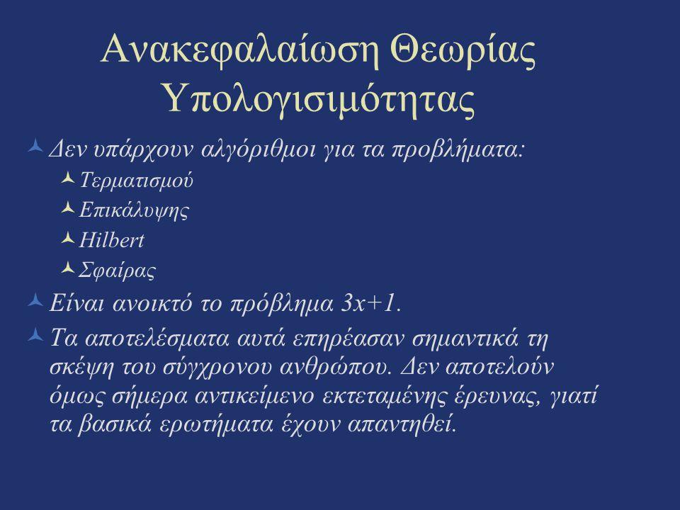 Ανακεφαλαίωση Θεωρίας Υπολογισιμότητας Δεν υπάρχουν αλγόριθμοι για τα προβλήματα: Τερματισμού Επικάλυψης Hilbert Σφαίρας Είναι ανοικτό το πρόβλημα 3x+