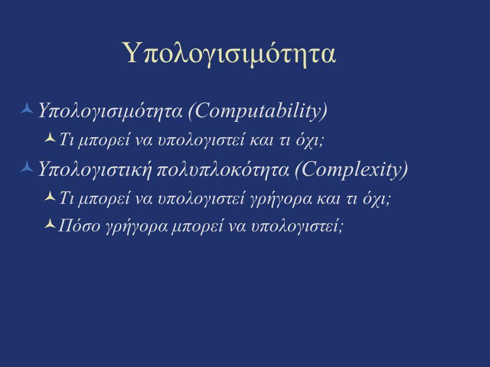 Υπολογισιμότητα Υπολογισιμότητα (Computability) Τι μπορεί να υπολογιστεί και τι όχι; Υπολογιστική πολυπλοκότητα (Complexity) Τι μπορεί να υπολογιστεί