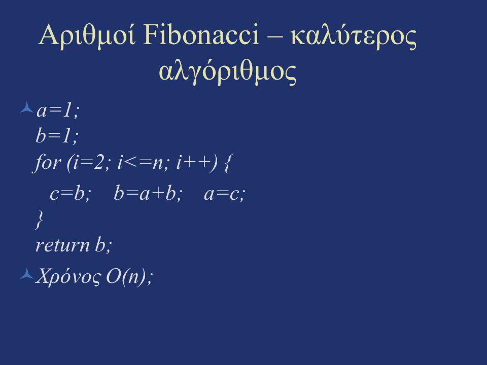 Αριθμοί Fibonacci – καλύτερος αλγόριθμος a=1; b=1; for (i=2; i<=n; i++) { c=b; b=a+b; a=c; } return b; Χρόνος O(n);