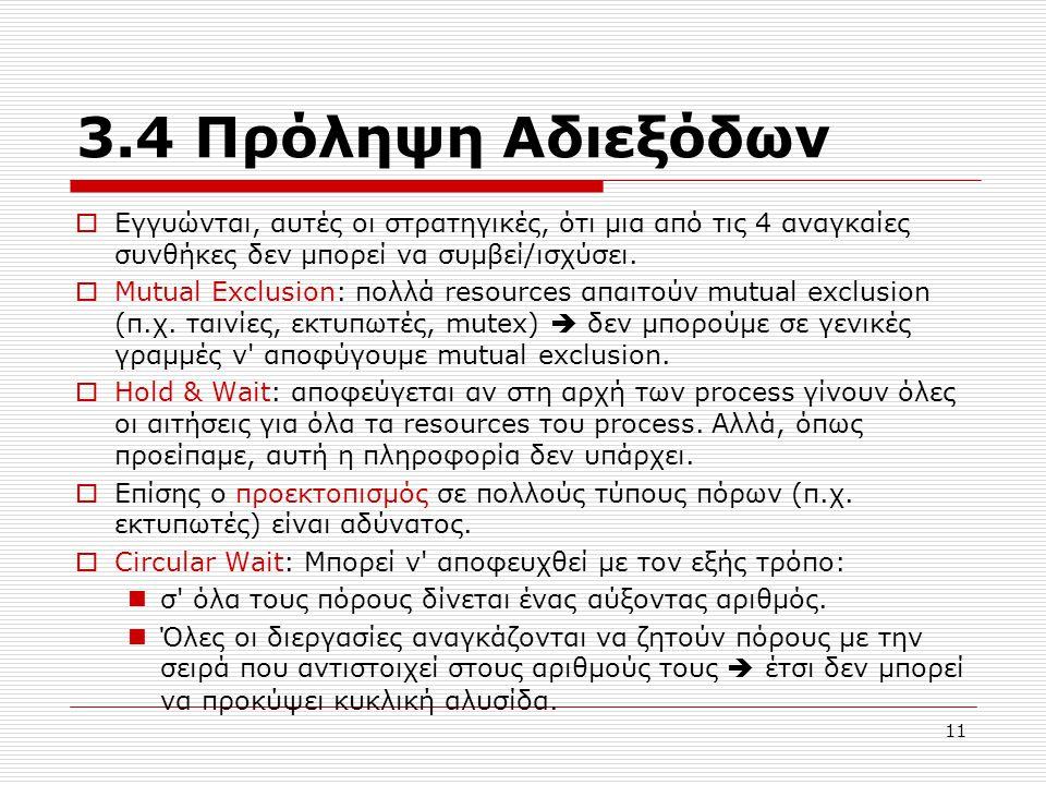 11 3.4 Πρόληψη Αδιεξόδων  Εγγυώνται, αυτές οι στρατηγικές, ότι μια από τις 4 αναγκαίες συνθήκες δεν μπορεί να συμβεί/ισχύσει.