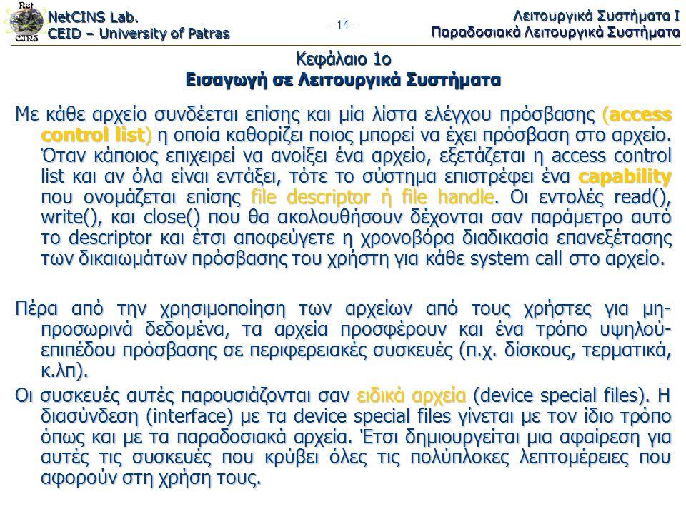 NetCINS Lab. CEID – University of Patras Λειτουργικά Συστήματα Ι Παραδοσιακά Λειτουργικά Συστήματα - 14 - Κεφάλαιο 1ο Εισαγωγή σε Λειτουργικά Συστήματ