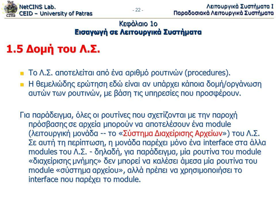 NetCINS Lab. CEID – University of Patras Λειτουργικά Συστήματα Ι Παραδοσιακά Λειτουργικά Συστήματα - 22 - Κεφάλαιο 1ο Εισαγωγή σε Λειτουργικά Συστήματ