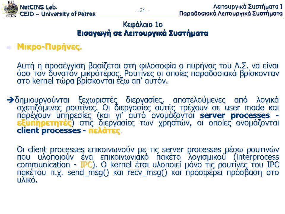 NetCINS Lab. CEID – University of Patras Λειτουργικά Συστήματα Ι Παραδοσιακά Λειτουργικά Συστήματα - 24 - Κεφάλαιο 1ο Εισαγωγή σε Λειτουργικά Συστήματ