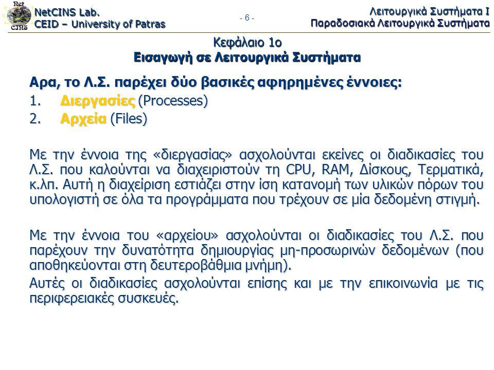 NetCINS Lab. CEID – University of Patras Λειτουργικά Συστήματα Ι Παραδοσιακά Λειτουργικά Συστήματα - 6 - Κεφάλαιο 1ο Εισαγωγή σε Λειτουργικά Συστήματα