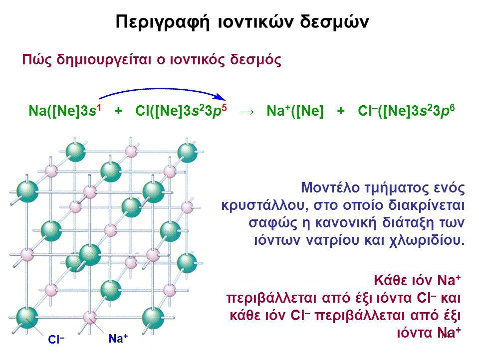 14 Περιγραφή ιοντικών δεσμών Πώς δημιουργείται ο ιοντικός δεσμός Na([Ne]3s 1 + Cl([Ne]3s 2 3p 5 → Na + ([Ne] + Cl – ([Ne]3s 2 3p 6 Μοντέλο τμήματος εν