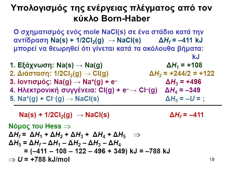 19 Υπολογισμός της ενέργειας πλέγματος από τον κύκλο Born-Haber Νόμος του Hess  ΔΗ f = ΔΗ 1 + ΔΗ 2 + ΔΗ 3 + ΔΗ 4 + ΔΗ 5  ΔΗ 5 = ΔΗ f – ΔΗ 1 – ΔΗ 2 –