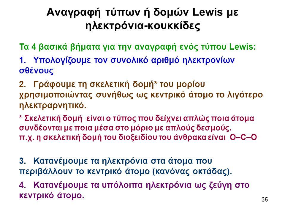 35 Αναγραφή τύπων ή δομών Lewis με ηλεκτρόνια-κουκκίδες Τα 4 βασικά βήματα για την αναγραφή ενός τύπου Lewis: 1. Υπολογίζουμε τον συνολικό αριθμό ηλεκ