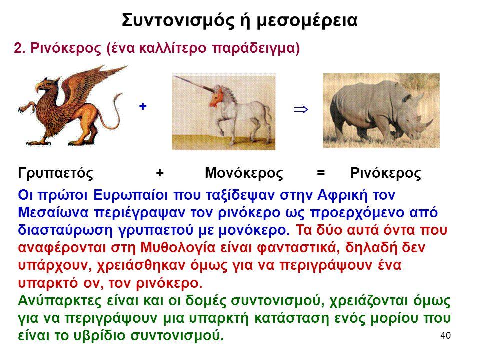 40 Συντονισμός ή μεσομέρεια 2. Ρινόκερος (ένα καλλίτερο παράδειγμα) Γρυπαετός + Μονόκερος = Ρινόκερος Οι πρώτοι Ευρωπαίοι που ταξίδεψαν στην Αφρική το