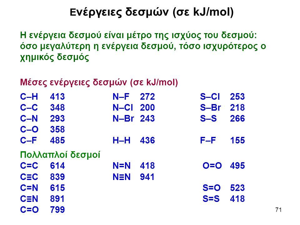 71 Ε νέργειες δεσμών (σε kJ/mol) Η ενέργεια δεσμού είναι μέτρο της ισχύος του δεσμού: όσο μεγαλύτερη η ενέργεια δεσμού, τόσο ισχυρότερος ο χημικός δεσ