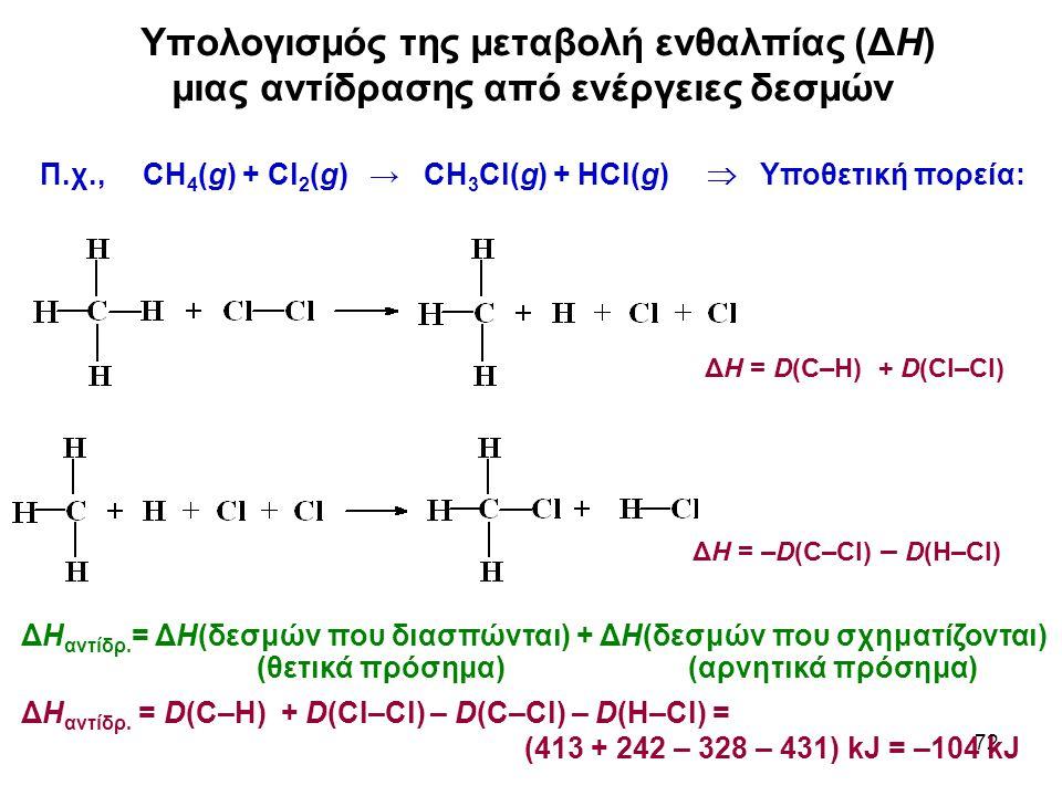 72 Υπολογισμός της μεταβολή ενθαλπίας (ΔΗ) μιας αντίδρασης από ενέργειες δεσμών Π.χ., CH 4 (g) + Cl 2 (g) → CH 3 Cl(g) + HCl(g)  Υποθετική πορεία: ΔΗ