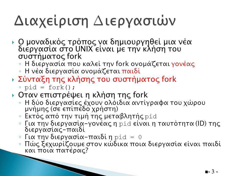  Ο µοναδικός τρόπος να δηµιουργηθεί µια νέα διεργασία στο UNIX είναι µε την κλήση του συστήµατος fork ◦ Η διεργασία που καλεί την fork ονοµάζεται γον