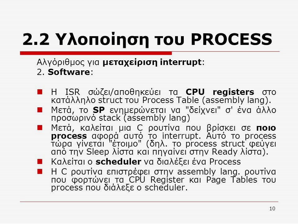 10 2.2 Υλοποίηση του PROCESS Αλγόριθμος για μεταχείριση interrupt: 2. Software: Η ISR σώζει/αποθηκεύει τα CPU registers στο κατάλληλο struct του Proce