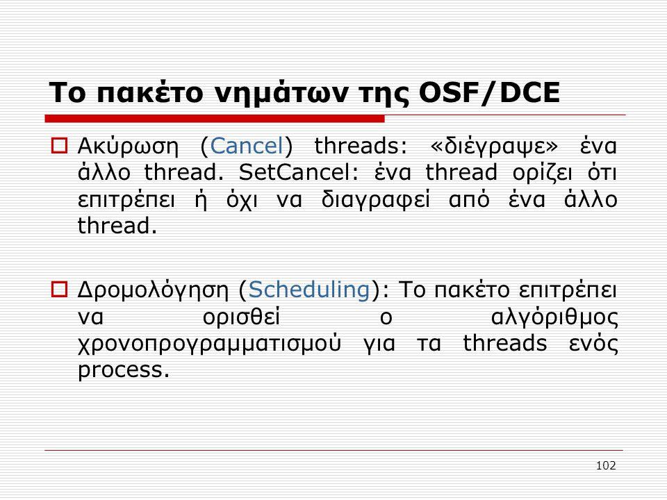 Το πακέτο νημάτων της OSF/DCE  Ακύρωση (Cancel) threads: «διέγραψε» ένα άλλο thread. SetCancel: ένα thread ορίζει ότι επιτρέπει ή όχι να διαγραφεί απ