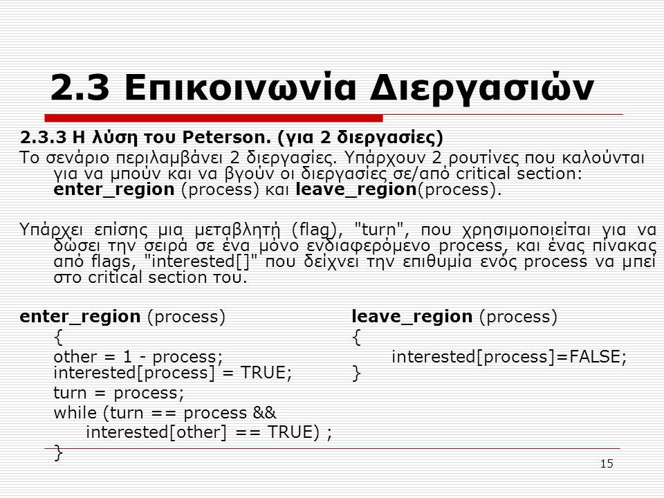15 2.3 Επικοινωνία Διεργασιών 2.3.3 Η λύση του Peterson. (για 2 διεργασίες) Το σενάριο περιλαμβάνει 2 διεργασίες. Υπάρχουν 2 ρουτίνες που καλούνται γι