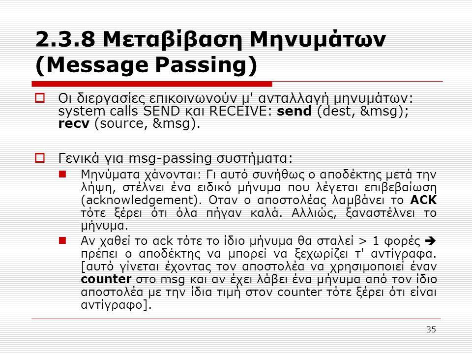 35 2.3.8 Μεταβίβαση Μηνυμάτων (Message Passing)  Οι διεργασίες επικοινωνούν μ' ανταλλαγή μηνυμάτων: system calls SEND και RECEIVE: send (dest, &msg);