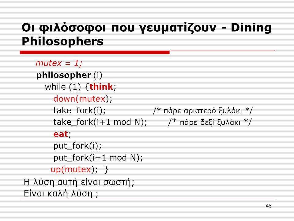 48 Οι φιλόσοφοι που γευματίζουν - Dining Philosophers mutex = 1; philosopher (i) while (1) {think; down(mutex); take_fork(i); /* πάρε αριστερό ξυλάκι