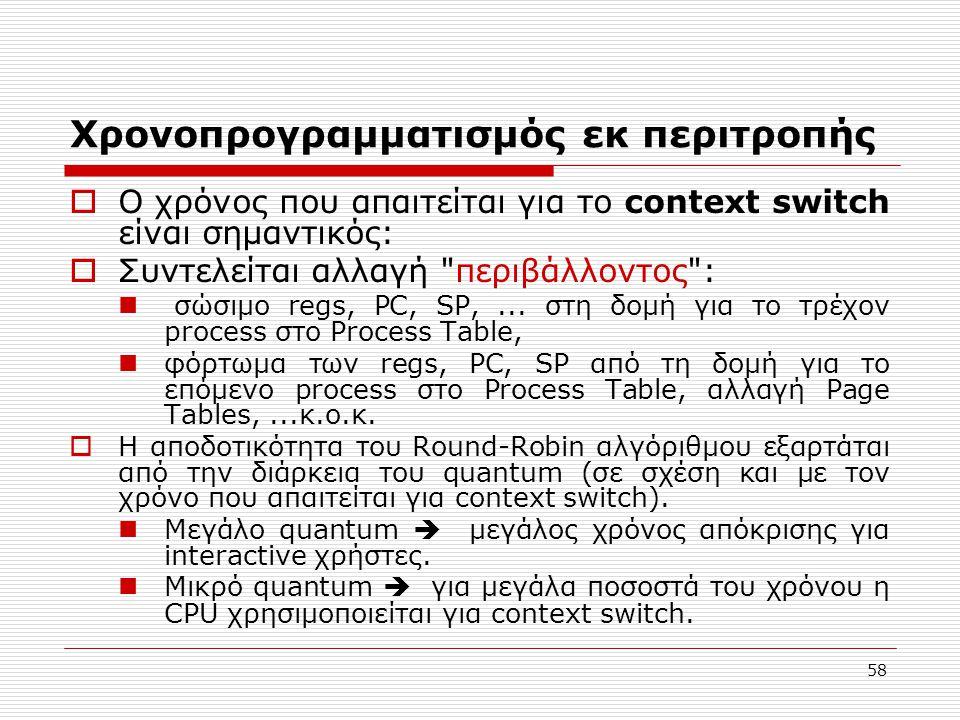 58 Χρονοπρογραμματισμός εκ περιτροπής  Ο χρόνος που απαιτείται για το context switch είναι σημαντικός:  Συντελείται αλλαγή