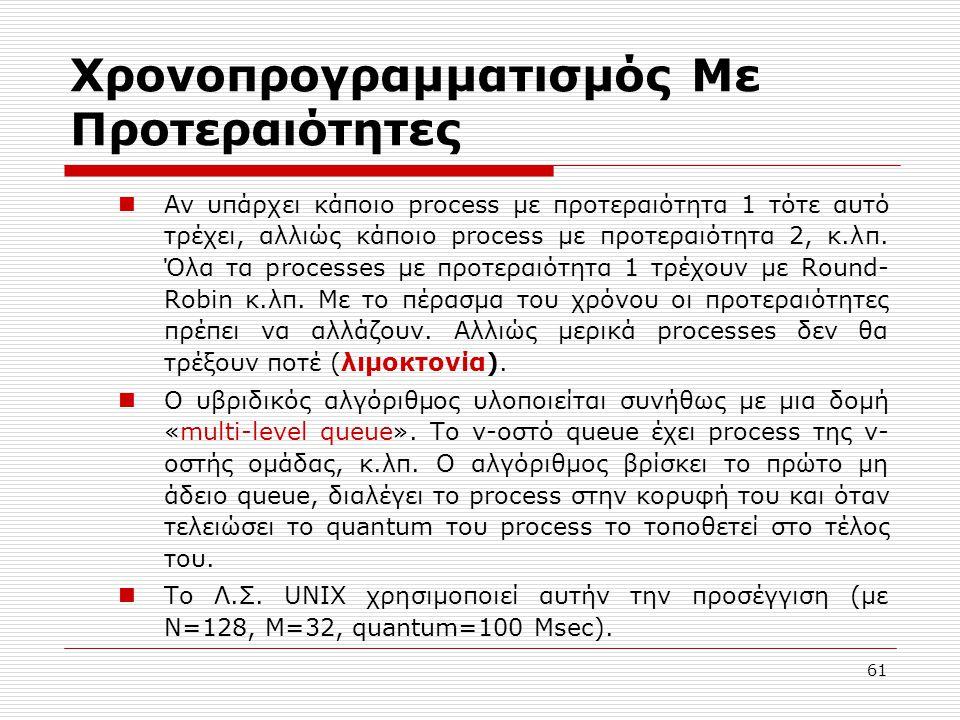 61 Χρονοπρογραμματισμός Με Προτεραιότητες Αν υπάρχει κάποιο process με προτεραιότητα 1 τότε αυτό τρέχει, αλλιώς κάποιο process με προτεραιότητα 2, κ.λ