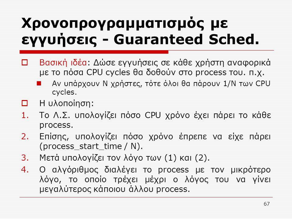 67 Χρονοπρογραμματισμός με εγγυήσεις - Guaranteed Sched.  Βασική ιδέα: Δώσε εγγυήσεις σε κάθε χρήστη αναφορικά με το πόσα CPU cycles θα δοθούν στο pr
