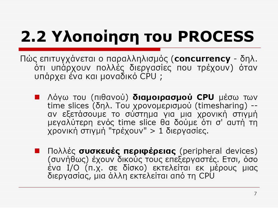 18 2.3 Επικοινωνία Διεργασιών enter_region: TSL reg, flag /* reg  flag && flag = 1 */ cmp reg, 0 /* reg = 0 ; */ jnz enter_region /* try again */ ret leave_region: mov flag, 0 /* flag = 0 */ ret Ένα process που καλεί enter_region θα μπεί μόνο αν flag = 0.
