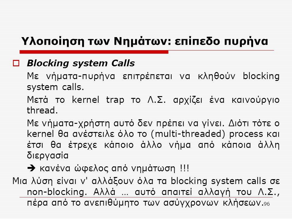 96 Υλοποίηση των Νημάτων: επίπεδο πυρήνα  Blocking system Calls Με νήματα-πυρήνα επιτρέπεται να κληθούν blocking system calls. Μετά το kernel trap το