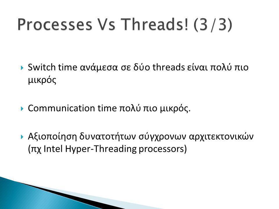 Switch time ανάμεσα σε δύο threads είναι πολύ πιο μικρός  Communication time πολύ πιο μικρός.  Αξιοποίηση δυνατοτήτων σύγχρονων αρχιτεκτονικών (πχ