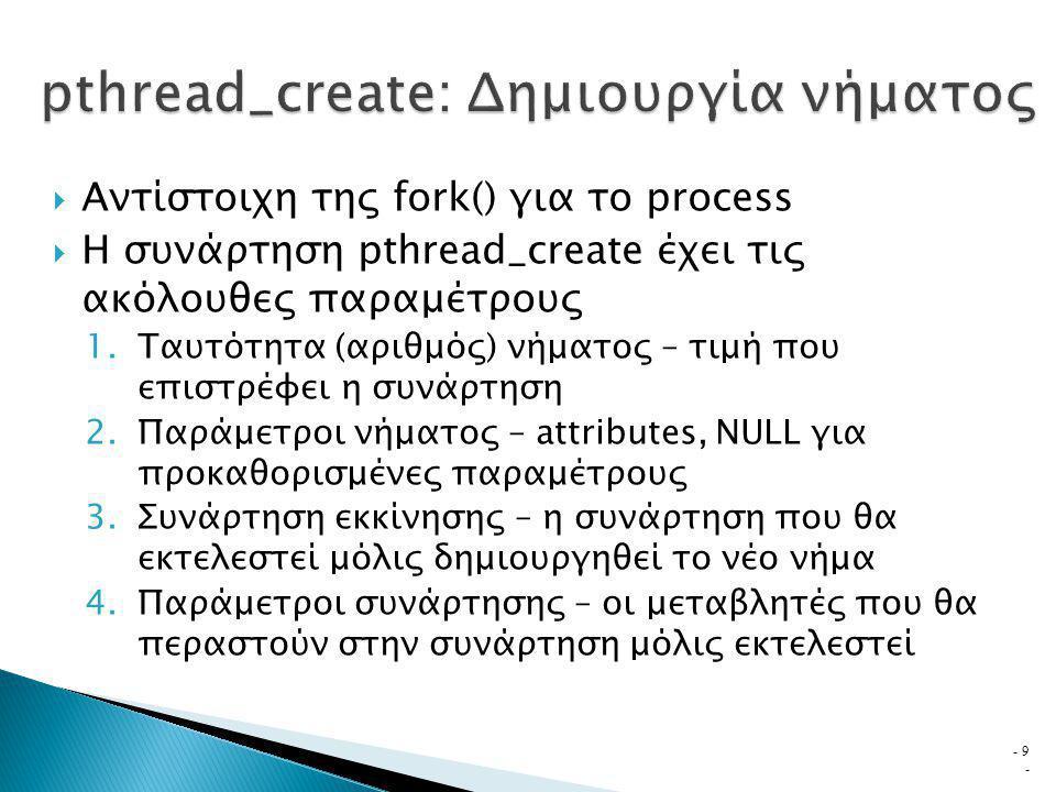  Αντίστοιχη της fork() για το process  Η συνάρτηση pthread_create έχει τις ακόλουθες παραμέτρους 1.Ταυτότητα (αριθμός) νήματος – τιμή που επιστρέφει η συνάρτηση 2.Παράμετροι νήματος – attributes, NULL για προκαθορισμένες παραμέτρους 3.Συνάρτηση εκκίνησης – η συνάρτηση που θα εκτελεστεί μόλις δημιουργηθεί το νέο νήμα 4.Παράμετροι συνάρτησης – οι μεταβλητές που θα περαστούν στην συνάρτηση μόλις εκτελεστεί - 9 -