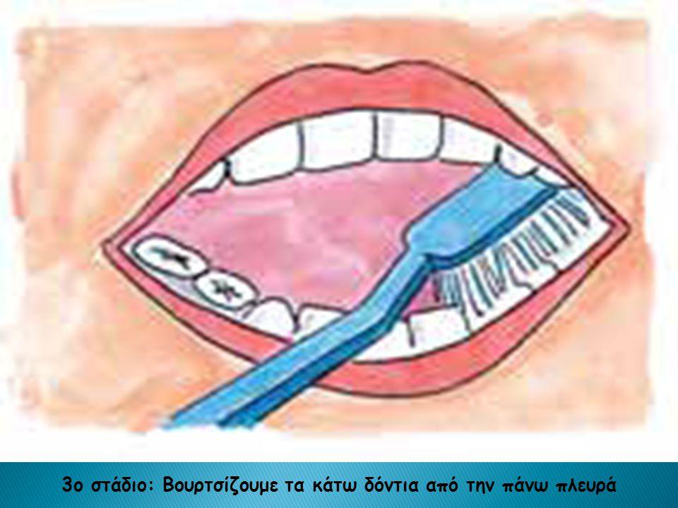 3ο στάδιο: Βουρτσίζουμε τα κάτω δόντια από την πάνω πλευρά