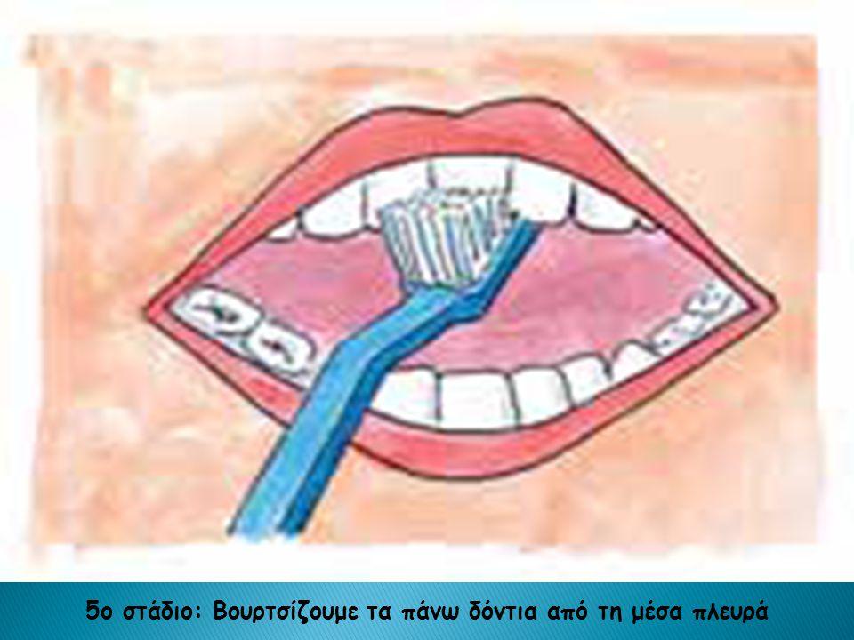 5ο στάδιο: Βουρτσίζουμε τα πάνω δόντια από τη μέσα πλευρά