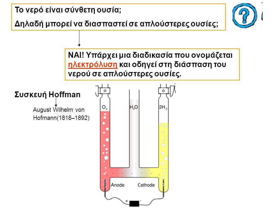 Το νερό είναι σύνθετη ουσία; Δηλαδή μπορεί να διασπαστεί σε απλούστερες ουσίες; NAI! Υπάρχει μια διαδικασία που ονομάζεται ηλεκτρόλυση και οδηγεί στη