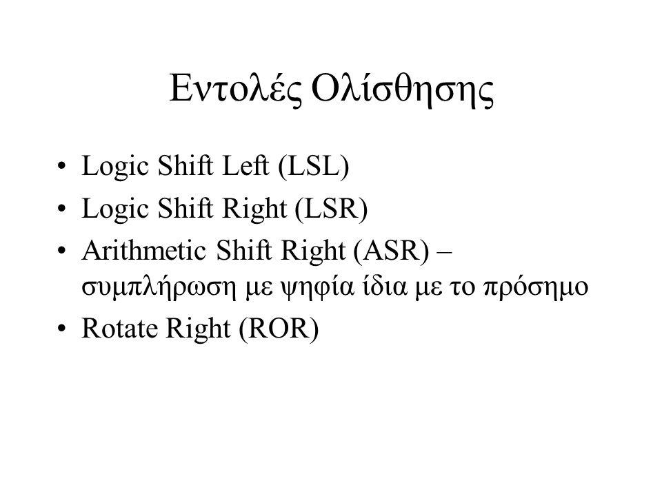 Εντολές Ολίσθησης Logic Shift Left (LSL) Logic Shift Right (LSR) Arithmetic Shift Right (ASR) – συμπλήρωση με ψηφία ίδια με το πρόσημο Rotate Right (R