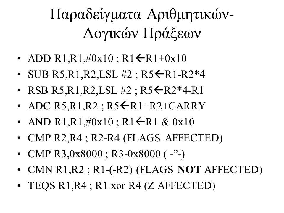Παραδείγματα Αριθμητικών- Λογικών Πράξεων ADD R1,R1,#0x10 ; R1  R1+0x10 SUB R5,R1,R2,LSL #2 ; R5  R1-R2*4 RSB R5,R1,R2,LSL #2 ; R5  R2*4-R1 ADC R5,