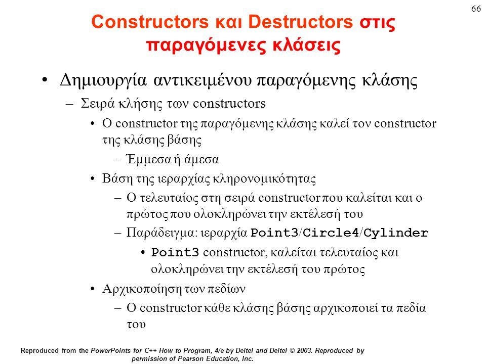 66 Constructors και Destructors στις παραγόμενες κλάσεις Δημιουργία αντικειμένου παραγόμενης κλάσης –Σειρά κλήσης των constructors Ο constructor της π