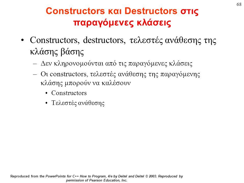 68 Constructors και Destructors στις παραγόμενες κλάσεις Constructors, destructors, τελεστές ανάθεσης της κλάσης βάσης –Δεν κληρονομούνται από τις παρ