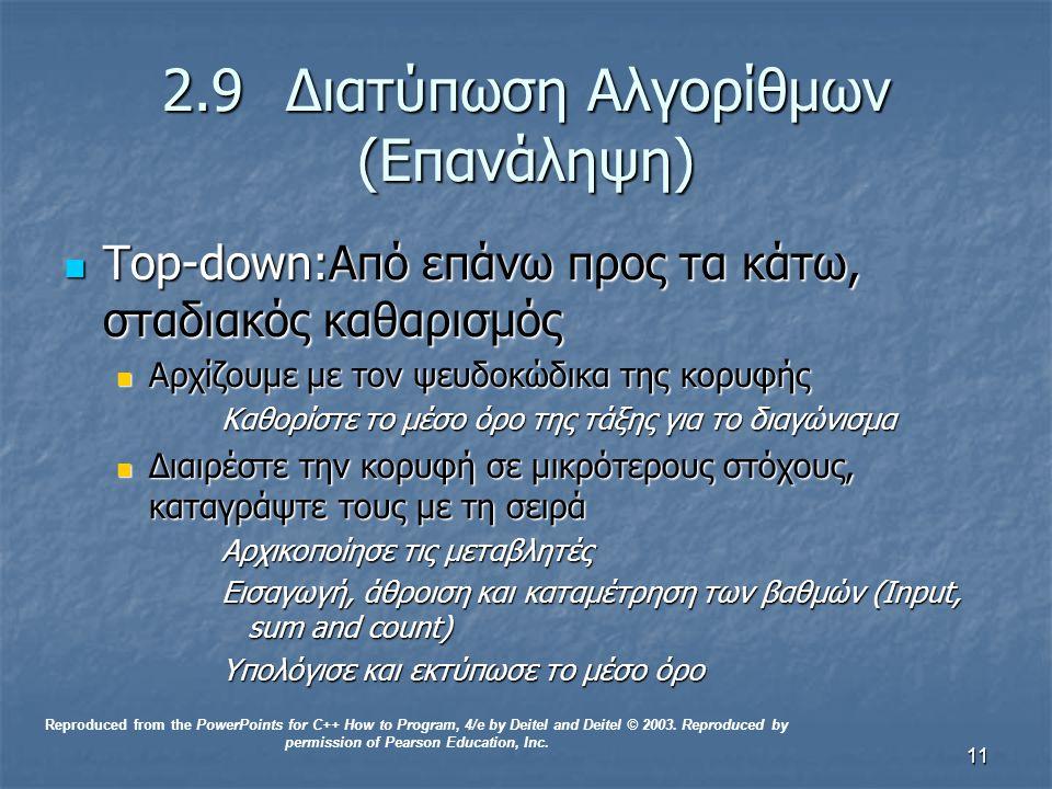 11 2.9 Διατύπωση Αλγορίθμων (Επανάληψη) Top-down:Από επάνω προς τα κάτω, σταδιακός καθαρισμός Top-down:Από επάνω προς τα κάτω, σταδιακός καθαρισμός Αρχίζουμε με τον ψευδοκώδικα της κορυφής Αρχίζουμε με τον ψευδοκώδικα της κορυφής Καθορίστε το μέσο όρο της τάξης για το διαγώνισμα Διαιρέστε την κορυφή σε μικρότερους στόχους, καταγράψτε τους με τη σειρά Διαιρέστε την κορυφή σε μικρότερους στόχους, καταγράψτε τους με τη σειρά Αρχικοποίησε τις μεταβλητές Εισαγωγή, άθροιση και καταμέτρηση των βαθμών (Input, sum and count) Υπολόγισε και εκτύπωσε το μέσο όρο Reproduced from the PowerPoints for C++ How to Program, 4/e by Deitel and Deitel © 2003.